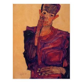 Autorretrato de Egon Schiele- con la mano a la mej Postal
