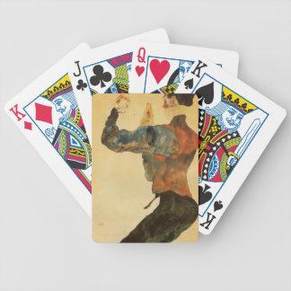 Autorretrato de Egon Schiele- con los brazos aumen Baraja De Cartas