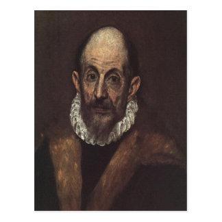 Autorretrato de El Greco de la descripción sumaria Tarjetas Postales