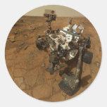 Autorretrato de la curiosidad de Marte Pegatina Redonda