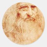 Autorretrato de Leonardo da Vinci circa 1510-1515 Pegatinas Redondas