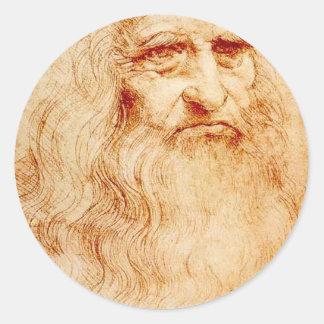 Autorretrato de Leonardo da Vinci circa 1510-1515 Pegatina Redonda
