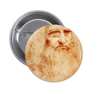 Autorretrato de Leonardo da Vinci circa 1510-1515 Pin Redondo 5 Cm