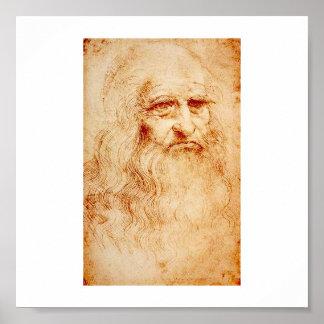 Autorretrato de Leonardo da Vinci circa 1510-1515 Póster
