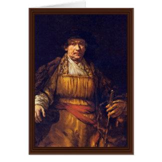 Autorretrato de Rembrandt Harmensz. Van Rijn Tarjetón