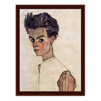Autorretrato de Schiele Egon Tarjeta Postal