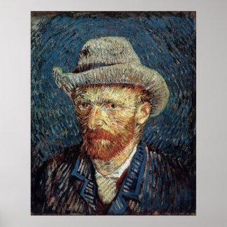 Autorretrato de Van Gogh con el sombrero de fieltr Póster