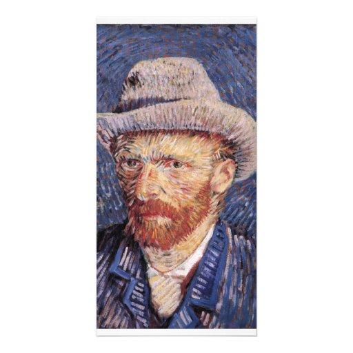 Autorretrato de Van Gogh con el sombrero de fieltr Tarjetas Fotográficas Personalizadas