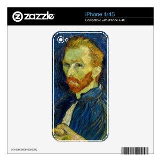 Autorretrato de Vincent van Gogh con la paleta iPhone 4 Calcomanías