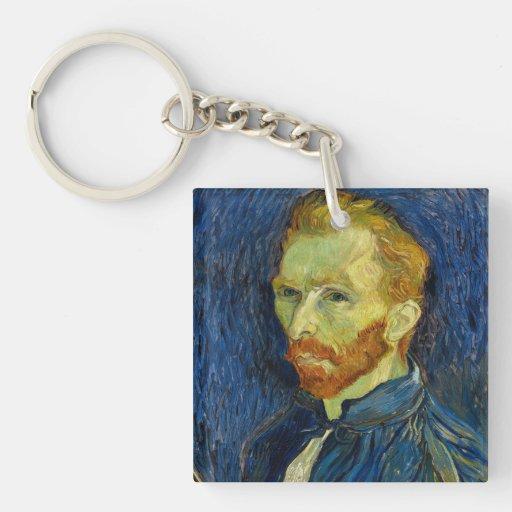 Autorretrato de Vincent van Gogh con la paleta Llavero Cuadrado Acrílico A Doble Cara
