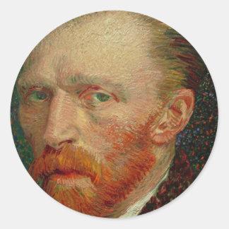 Autorretrato de Vincent van Gogh Pegatina Redonda