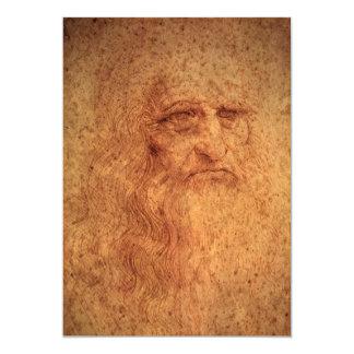 """Autorretrato del arte renacentista de Leonardo da Invitación 5"""" X 7"""""""