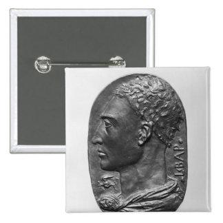 Autorretrato del medallón pin cuadrado