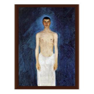 Autorretrato del Mitad-Desnudo contra un fondo azu Postal