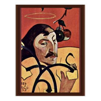 Autorretrato del Symbolist con halo de Gauguin Pau Tarjeta Postal
