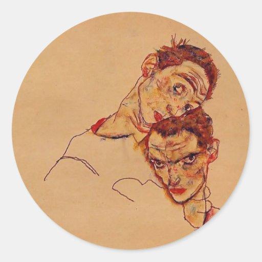 Autorretrato doble de Egon Schiele- Etiquetas Redondas