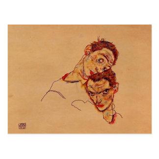 Autorretrato doble de Egon Schiele- Postal