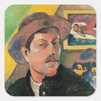 Autorretrato en un gorra, 1893-94 pegatina cuadrada
