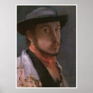 Autorretrato en un gorra suave, Edgar Degas 1857 Póster