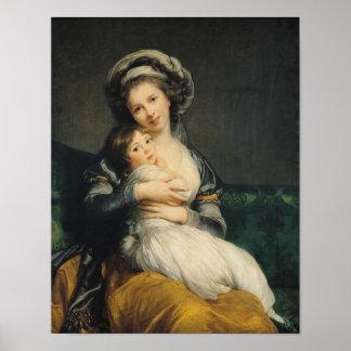 Autorretrato en un turbante con su niño, 1786 póster