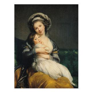 Autorretrato en un turbante con su niño, 1786 tarjeta postal