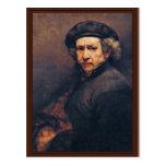 Autorretrato, por Rembrandt (la mejor calidad) Postal