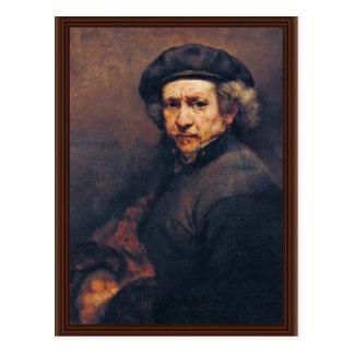 Autorretrato por Rembrandt la mejor calidad Postal