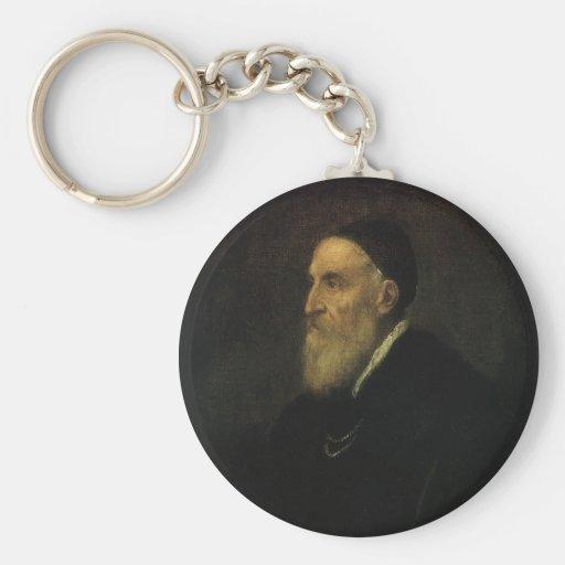 Autorretrato por Titian, arte renacentista Llaveros