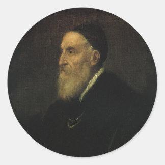 Autorretrato por Titian, arte renacentista Pegatina Redonda