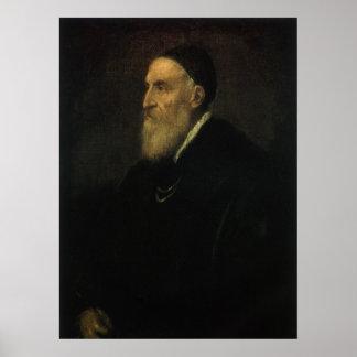Autorretrato por Titian, arte renacentista Póster