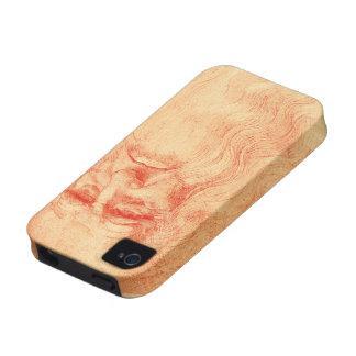 Autorretrato rojo de la tiza de Leonardo da Vinci iPhone 4 Carcasa