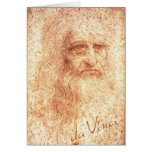 Autorretrato rojo de Leonardo da Vinci de la tiza Tarjeton