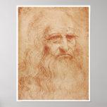 Autorretrato, tiza roja, Leonardo da Vinci, 1519 Posters