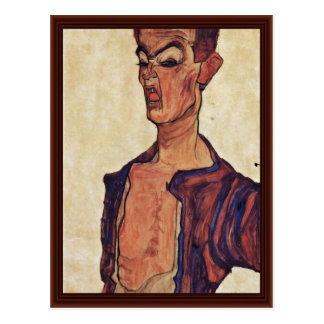 Autorretrato una perforación de la cara de Schiele Postales