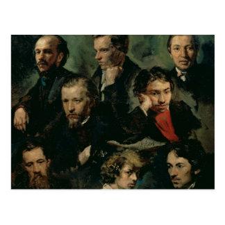 Autorretrato y retratos de los amigos, 1864 tarjeta postal