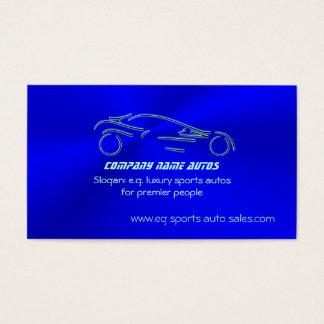Autosales, Ice-blue Sports Auto, chrome-look Business Card
