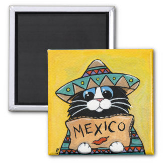 Autostopista caprichoso del mexicano del gato del imán cuadrado