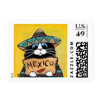 Autostopista mexicano del gato del smoking con la timbres postales
