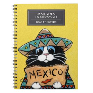 Autostopista mexicano del gato del smoking libro de apuntes con espiral