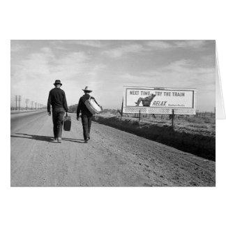 Autostopistas fuera de Los Ángeles, 1937 Tarjeton