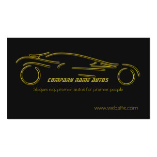 Autotrade Car - Gold Sportscar on black template Business Cards