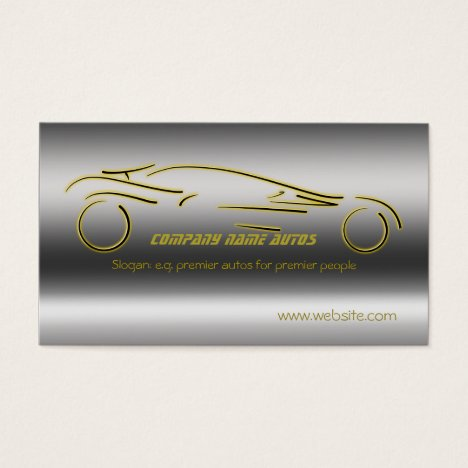 Autotrade Car - Gold Sportscar on steel-effect Business Card