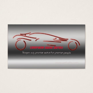Autotrade Car - Red Sportscar on steel-effect Business Card