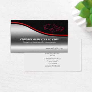 Autotrade - Red Classic Car on steel-effect Business Card