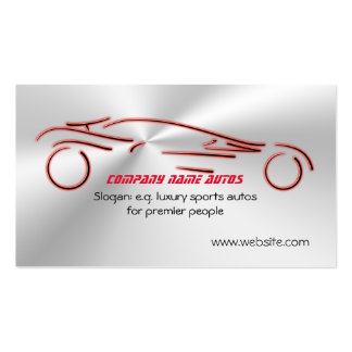 Autotrade - Red Sports Auto on flaring steel-look Business Card