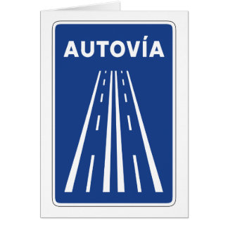 Autovia Spanish Highway Sign Card