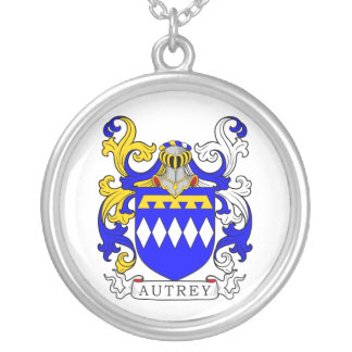 Autrey Coat of Arms Round Pendant Necklace