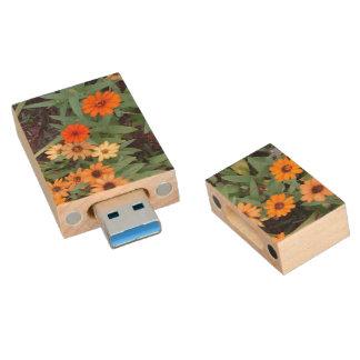 Autum Flowers Wood USB Flash Drive