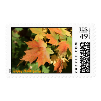 Autum leaves and Happy Thanksgiving Postage