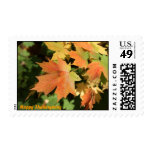Autum leaves and Happy Thanksgiving Postage Stamp